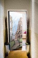 Виниловая наклейка на дверь - Город. скетч 2