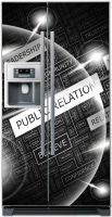 Виниловая наклейка на холодильник - public relation