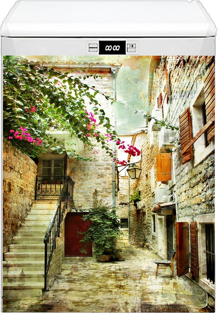 Наклейка на посудомоечную машину - Старые улочки Греции 2