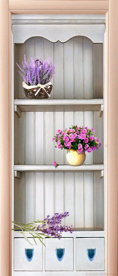 Наклейка на дверь - Прованс 3d
