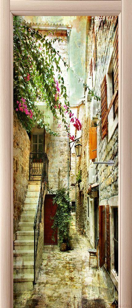 Фотообои на дверь - старые улочки Греции 2