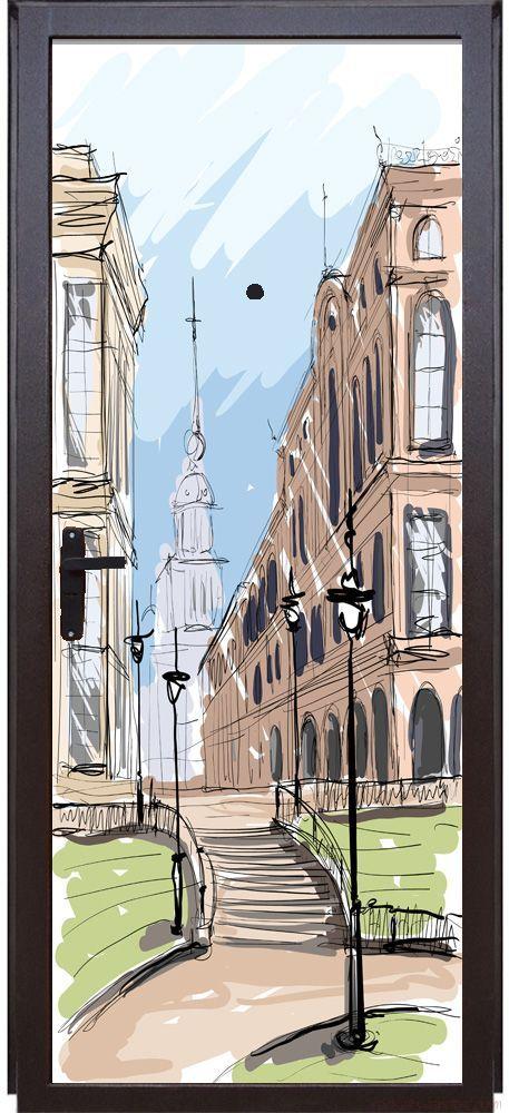 Наклейка на дверь - Город. скетч 2
