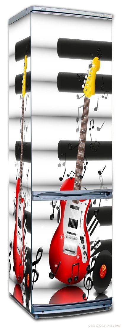 Наклейка на холодильник - Музыкальные инструменты
