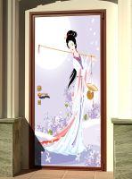 Декоративная наклейка на дверь - Муза сельхозугодий