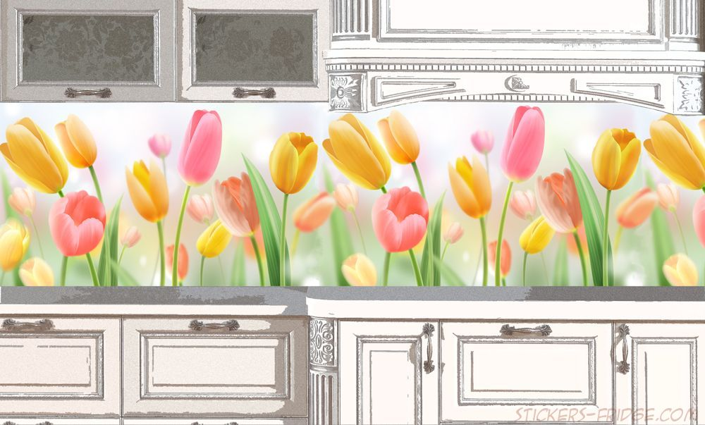 Фартук для кухни - Тюльпаны