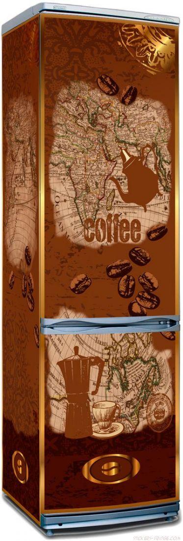 Наклейка на холодильник - Все пьют кофе